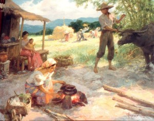 A 1954 Amorsolo oil painting depicts Philippine village life.