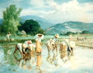 A rice harvesting scene by Fernando Amorsolo