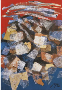 """Jose Joya, """"Makiling Interlude,"""" 1984, Acrylic and Collage on Paper, approx. 22 x 15 inches"""