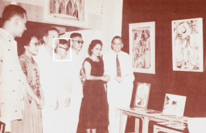 Above: The opening of a Jose Joya exhibit, featuring religious paintings, at the Philippine Art Gallery Jose Joya (indicated in white) is 4th from the left.